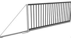 Откатные ворота с заполнением решеткой 5000х2000 ЭКО