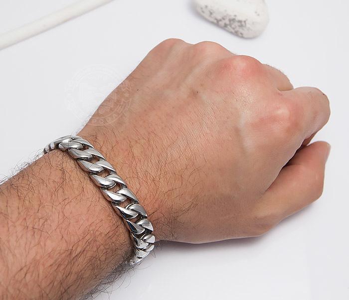 BM467-1 Классический браслет цепь из ювелирной стали (23 см) фото 06