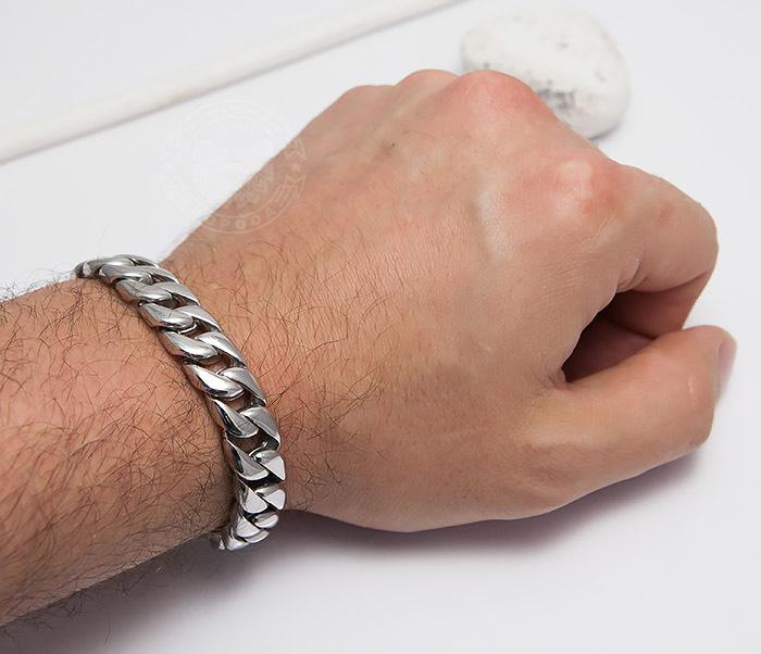 BM467-1 Классический браслет цепь из ювелирной стали (23 см) фото 07