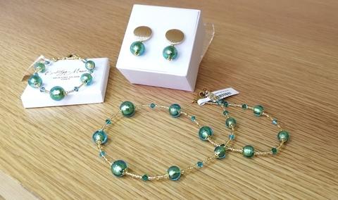 Комплект Primavera Rotondo изумрудный (серьги, ожерелье, браслет)
