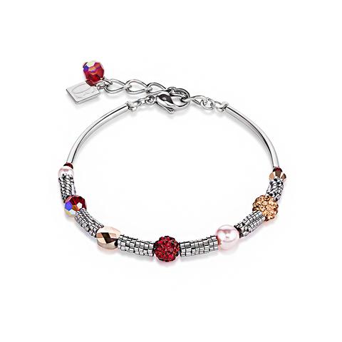 Браслет Coeur de Lion 4867/30-0321 цвет серебряный, розовый, красный, бежевый