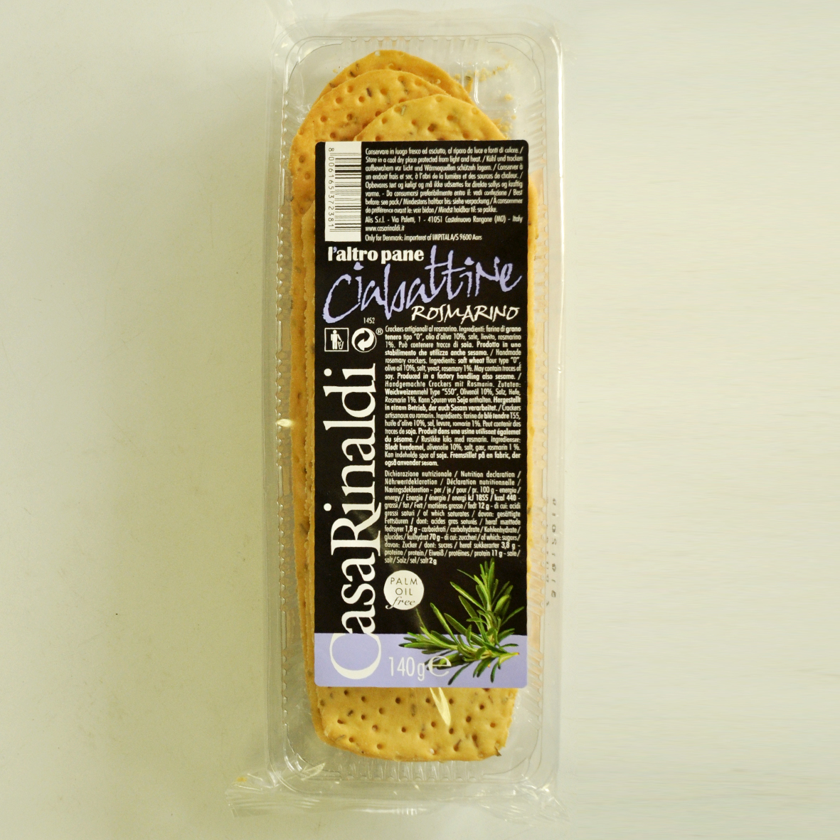 Хлебцы Casa Rinaldi Чиабаттини c розмарином 140г