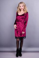 Лия. Наярдное платье для женщин. Бордо.