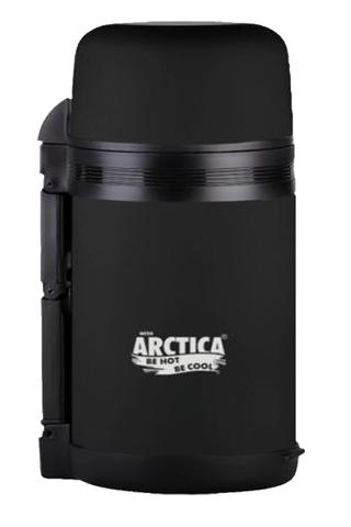 Термос универсальный (для еды и напитков) Арктика (1 литр) с широким горлом, черный матовый
