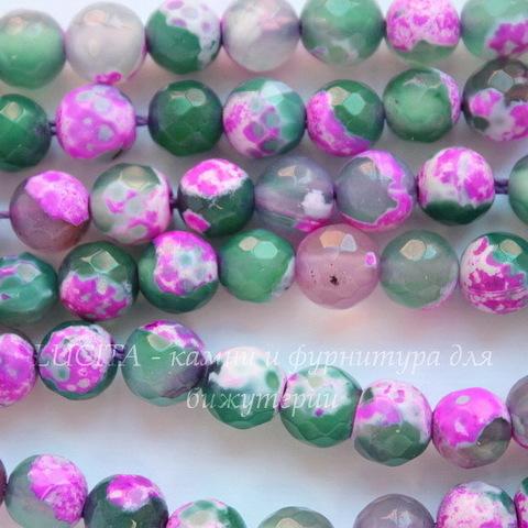 Бусина Агат цветочный (тониров), шарик с огранкой, цвет - зеленый с розовым, 6 мм, нить