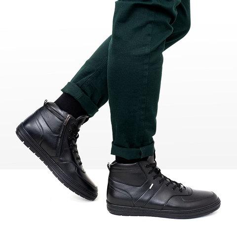 Черные мужские ботинки на натуральном меху