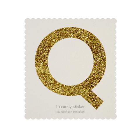 Стикер Q, мерцающее золото