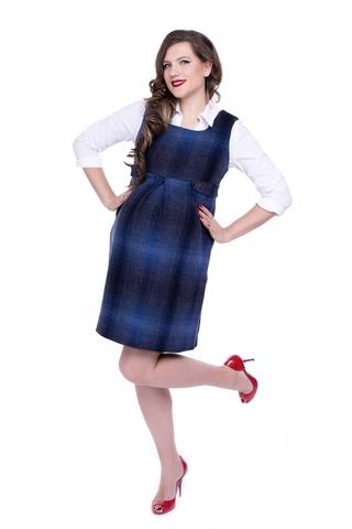 Сарафан для беременных 06219 синий/серый
