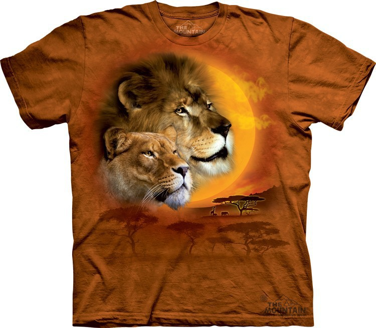 Футболка Mountain с изображением льва и солнца - Lion Sun