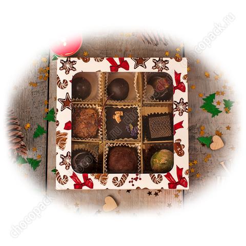 Упаковка с окном для 9 шоколадных конфет. НГ