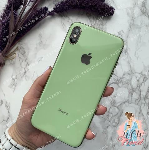 Чехол iPhone X/XS Glass Silicone Case Logo /mint gum/