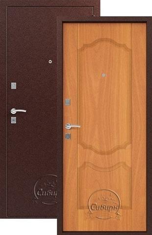 Стальная дверь Сибирь S-1/1, 1 замок, 1 мм  металл (медь+миланский орех)