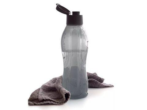 Бутылка эко 1л в чёрном цвете с клапаном
