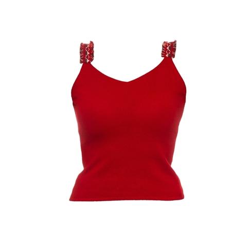 Яркий топ из кашемира красного цвета от Chanel, 40 размер.
