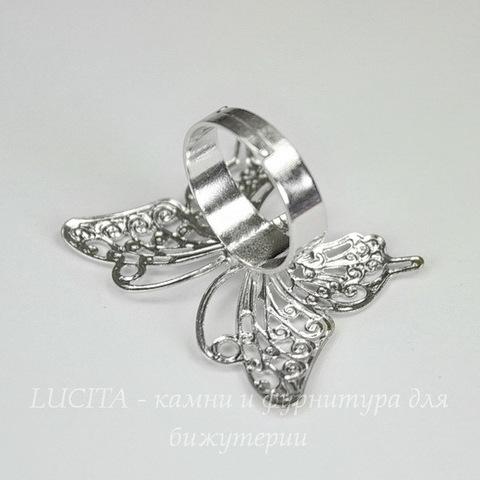Основа для кольца с филигранной бабочкой 36х26 мм (цвет - никель)