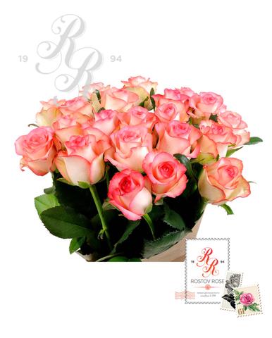 Букет 51 местная бело-розовая роза