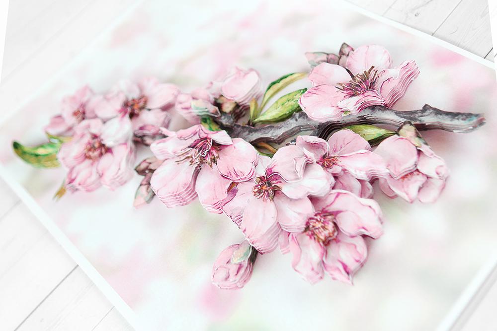 Папертоль Цветущая вишня - готовая работа, вид сбоку