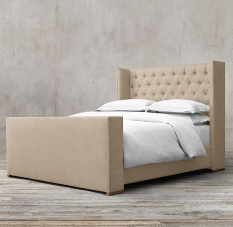 Adler Shelter Diamond-Tufted Fabric Bed With Footboard