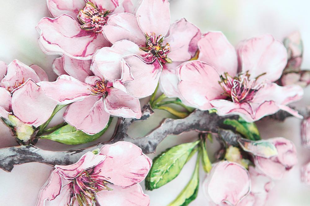 Папертоль Цветущая вишня - готовая работа, детали сюжета