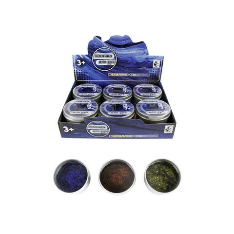 1toy Мелкие пакости Жвачка для рук металлик-хамелеон 3 цвета 80 г, 1кор*16бл*12шт