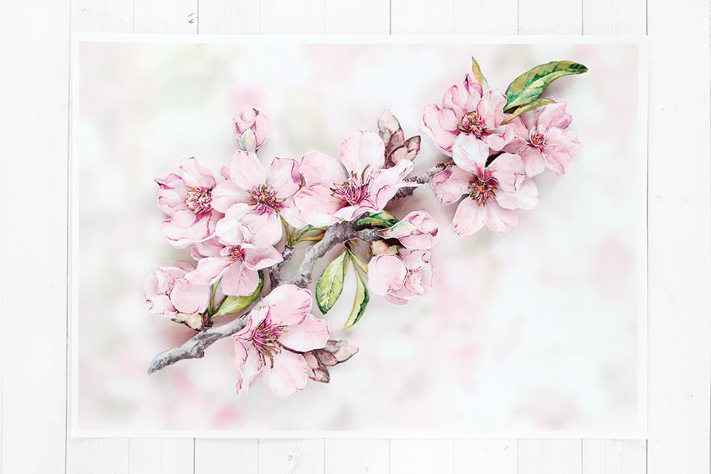 Папертоль Цветущая вишня - готовая работа, фронтальный вид
