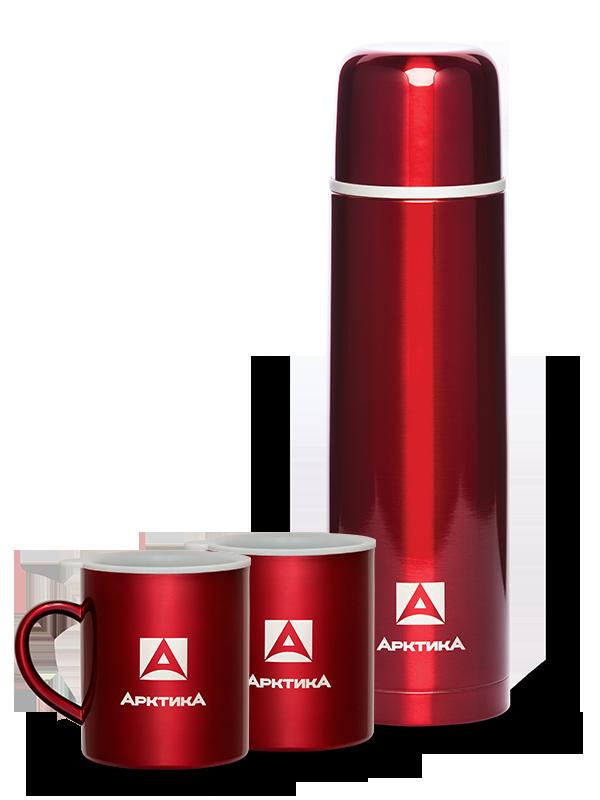 Набор Арктика термос с кнопкой (1 литр) классический + 2 кружки (300 мл.), красный