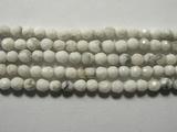 Нить Бисера из говлита белого, шар граненый 3мм