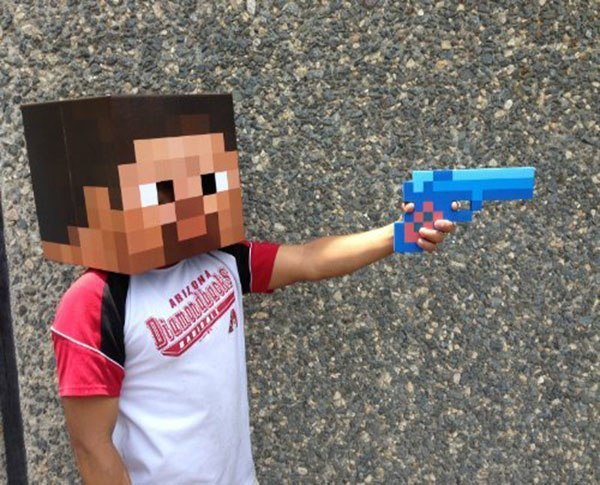 Пистолет Майнкрафт (Minecraft) пиксельный
