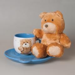 Подарочный набор для мальчика (чашка+тарелка+мишка) 7431