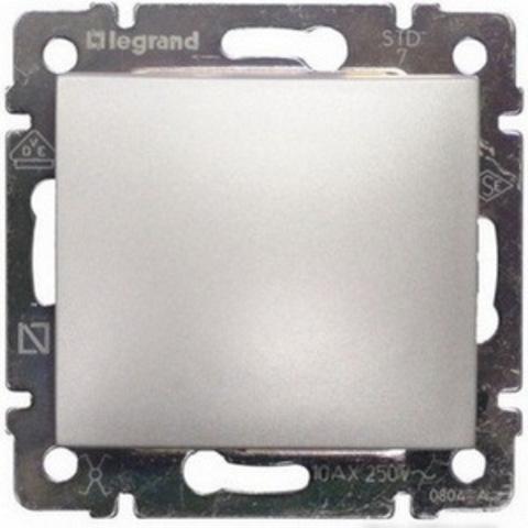 Выключатель одноклавишный проходной. Переключатель на два направления - 10 AX - 250 В~. Цвет Алюминий. Legrand Valena Classic (Легранд Валена Классик). 770106