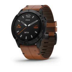 Мультиспортивные часы Garmin Fenix 6X  Sapphire - черный DLC с каштановым кожаным ремешком 010-02157-14