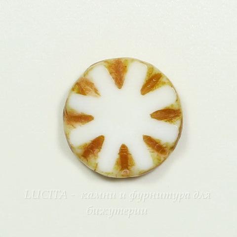 "Бусина ""Резная круглая"" (цвет - бело-медовый) 14х14 мм , 5 штук"