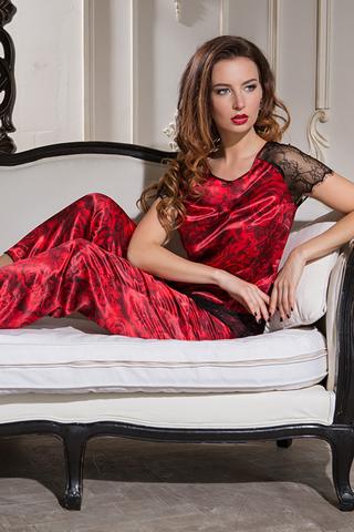 Шелковая женская домашняя атласная яркая красная итальянская пижама комплект с розами со штанами с кружевом