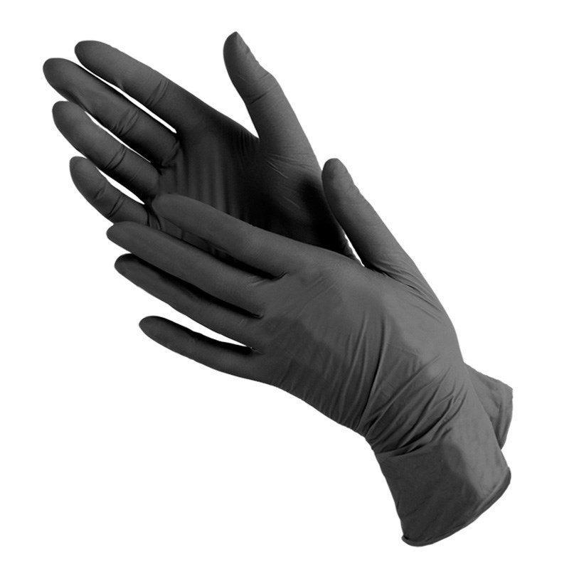 Материалы для эпиляции, депиляции Перчатки одноразовые нитриловые черные (100 шт/уп), производство Малайзия 496409997.jpg