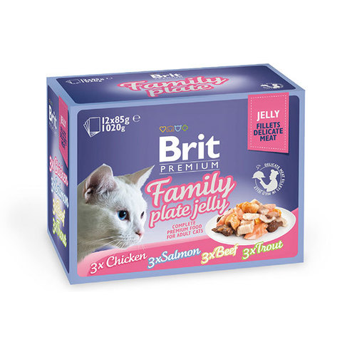 Паучи Brit Premium Family Plate Jelly набор для кошек