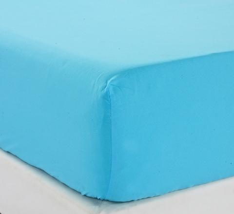 Простынь на резинке трикотажная  Джерси -голубая  Valtery (Россия)