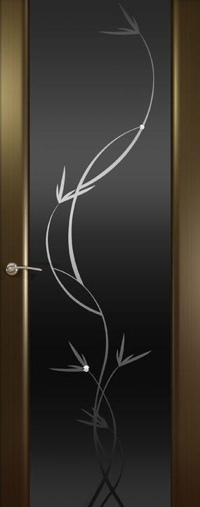 Шторм-3 (Растение)ДО, Венге,Черное стекло, Дверное полотно, ОКЕАН