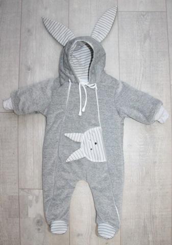 Велюровый утепленный комбинезон для новорожденного Little Bunny серые полоски