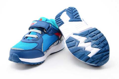 Светящиеся кроссовки для мальчиков Энгри Бердс (Angry Birds) на липучках, цвет синий, мигает картинка сбоку. Изображение 9 из 13.