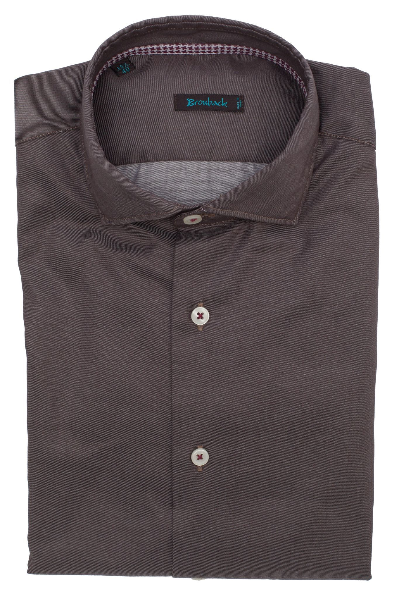Коричневая рубашка в мельчайший рубчик