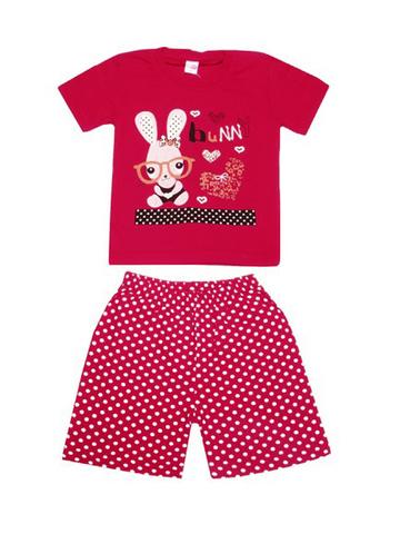 DL11-73-5-9 Комплект детский, красный (футболка+шорты)