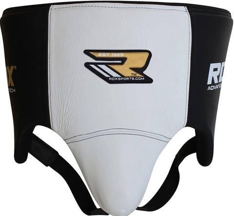 Бандаж RDX Groin Guard Leather Black/White&