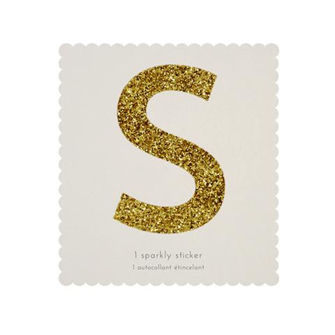 Стикер S, мерцающее золото