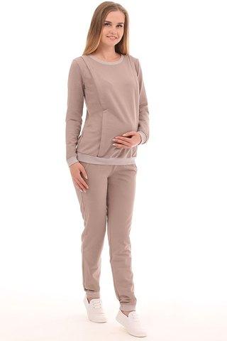 Спортивный костюм для беременных и кормящих 09965 бежевый