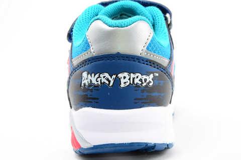Светящиеся кроссовки для мальчиков Энгри Бердс (Angry Birds) на липучках, цвет синий, мигает картинка сбоку. Изображение 12 из 13.