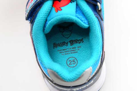 Светящиеся кроссовки для мальчиков Энгри Бердс (Angry Birds) на липучках, цвет синий, мигает картинка сбоку. Изображение 13 из 13.
