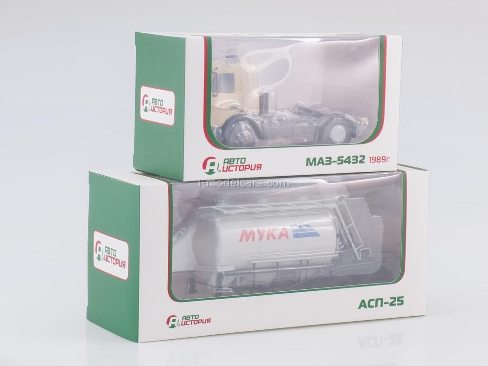MAZ-5432 beige with semitrailer ASP-25 1:43 AutoHistory