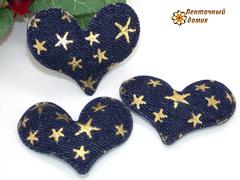 Мягкий декор джинсовые сердечки синие