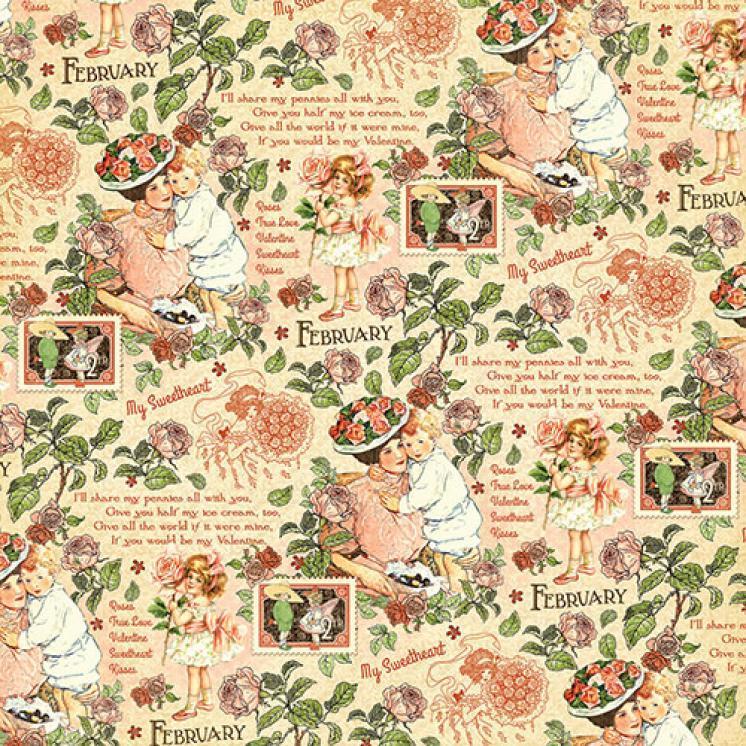 Бумага для скрапбукинга February Montage, Graphic45