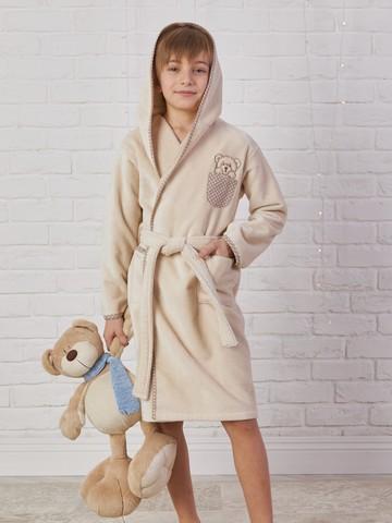 Детский  банный  махровый  халатик ТЕДДИ бежевый